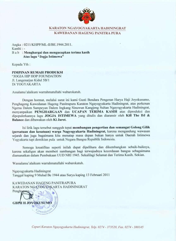 Surat Penghargaan Kraton untuk lagu 'Jogja Istimewa'
