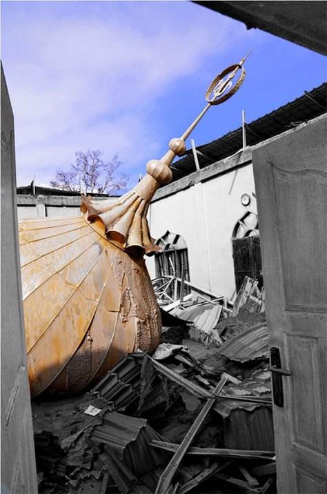 Marhaban Ya Ramadhan; Sebuah Masjid yang runtuh di lereng Sinabung. Juni 2014